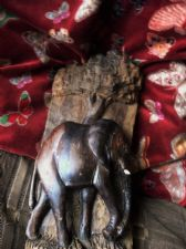 SCULPTURE ELEPHANT UNDER TREE CARVED IN HALF OF NATURAL WOODEN LOG 12.75""